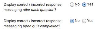 New SlickQuiz Response Messaging Options